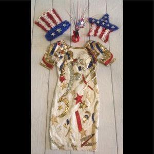 VTG Nite Line Sz 4 4th Of July Sequin/Beaded Dress